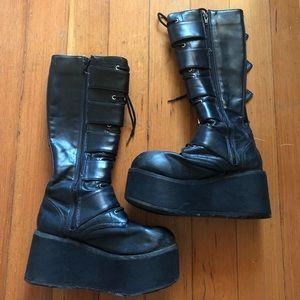 02374420cc9 Demonia Shoes - Demonia Trashville 518 platform knee high boots